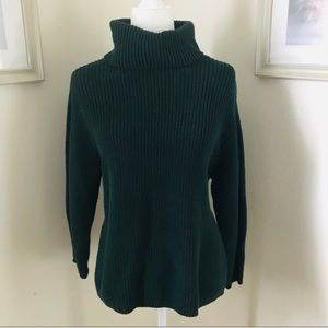 Vince Camuto | Green Ribbed Turtleneck Sweater